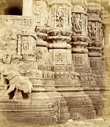 Carvings on facade of north side of the Navalakha Temple, Ghumli, Kathiawar